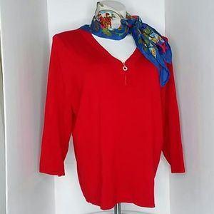 AVENUE V-NECK Red Soft Holiday Sweater size 18-20
